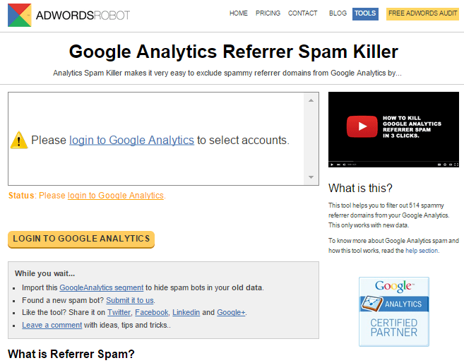 Google Analytics Referrer Spam Killer