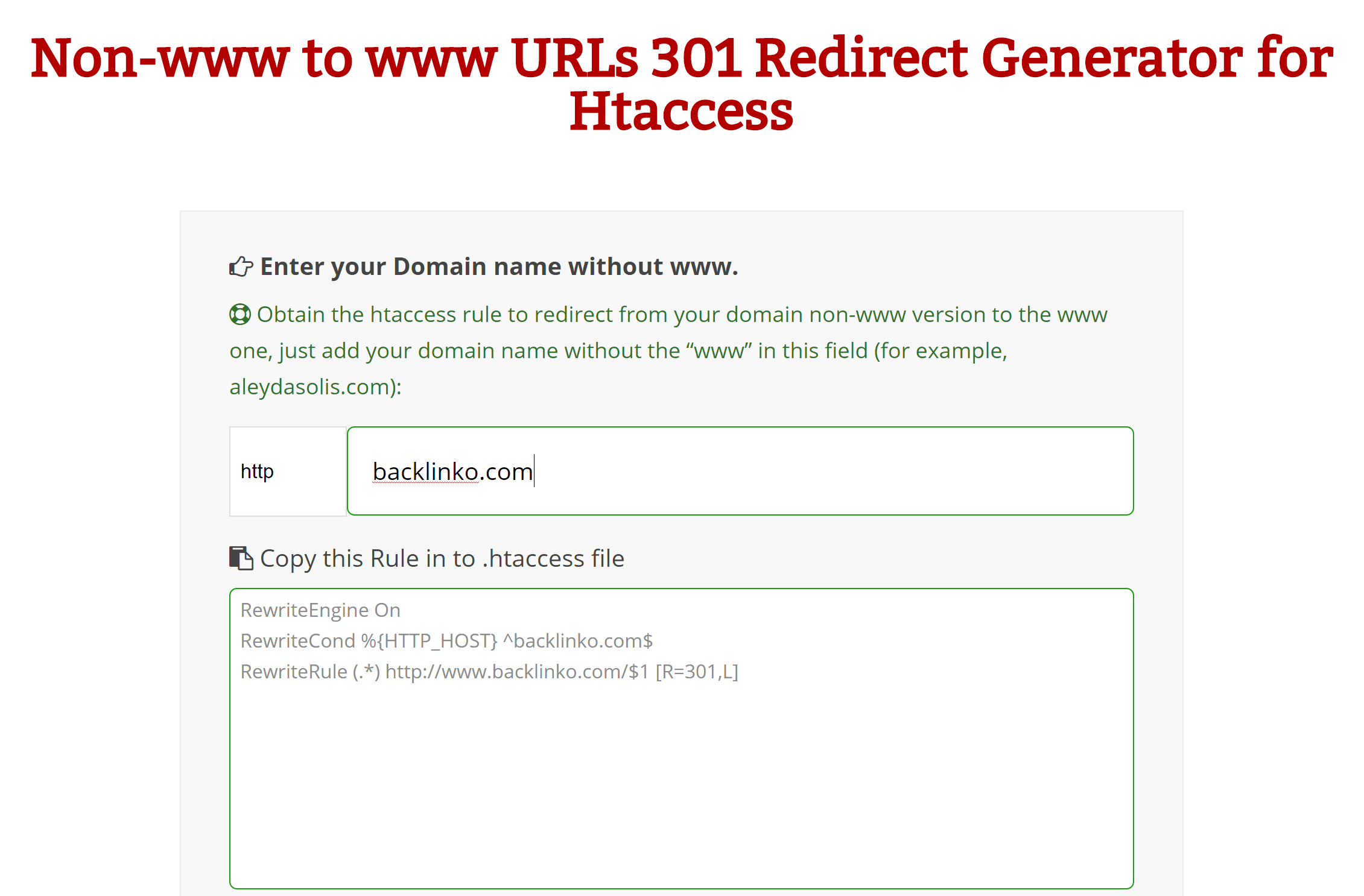 Simple Htaccess Redirects & Rewrite Generator
