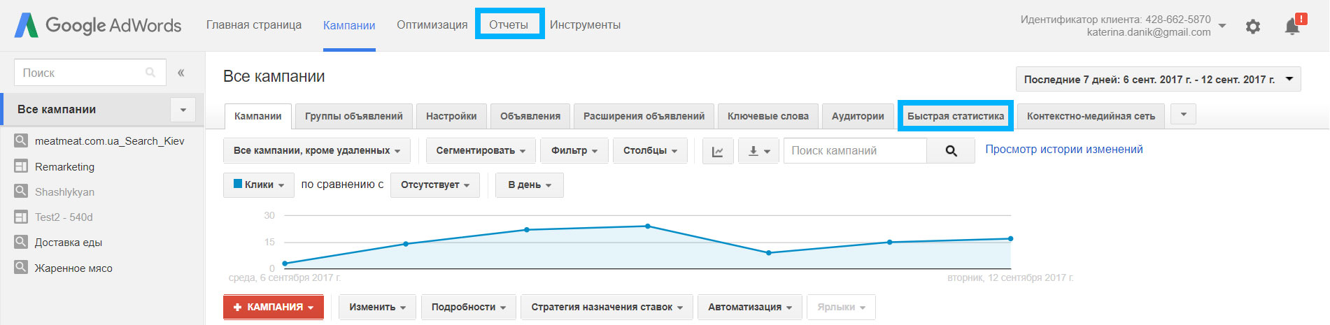 Отчеты в Google AdWords - было